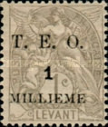 """[French Levant Postage Stamps Surcharged & Overprinted """"T.E.O."""", type B]"""
