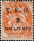 """[French Levant Postage Stamps Surcharged & Overprinted """"T.E.O."""", type B2]"""