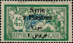 [French Postage Stamps Surcharged & Overprinted Syrie in French and Arabic, type U10]