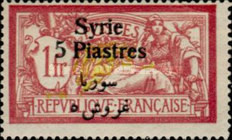 [French Postage Stamps Surcharged & Overprinted Syrie in French and Arabic, type U14]