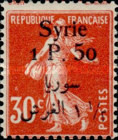 [French Postage Stamps Surcharged & Overprinted Syrie in French and Arabic, type U6]