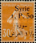 [French Postage Stamps Surcharged & Overprinted Syrie in French and Arabic, type U7]