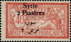 [French Postage Stamps Surcharged & Overprinted Syrie in French and Arabic, type U9]