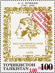 [Alexander Pushkin Issue of 1999 with Red  Surcharge, type QZ]