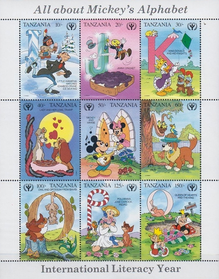 [International Literacy Year - Walt Disney Figures with Letters of the Alphabet, Typ ]