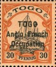 [German Togo Postage Stamps Overprinted - 2mm Between Lines, type A18]