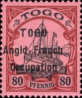 [German Togo Postage Stamps Overprinted - 2mm Between Lines, type A21]