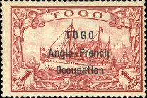[German Togo Postage Stamps Overprinted - 3mm Between Lines, type A9]