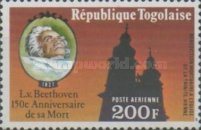 [Airmail - The 150th Anniversary of the Death of Ludwig van Beethoven, 1770-1827, type AFV]