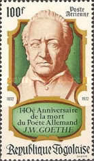 [Airmail - The 140th Anniversary of the Death of Johann Wolfgang von Goethe, 1749-1832, type WH]