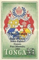 [Airmail - South Pacific Games - Postage Stamp of 1953 in New Color and Imperforated - Overprinted and Surcharged, type H4]