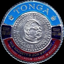 [The 50th Anniversary of the Birth of King Taufa'ahau IV. Postage Stamp of 1967 Overprinted