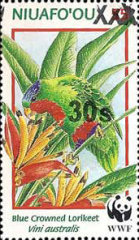 [Niuafoou Postage Stamps Surcharged, type BJT]