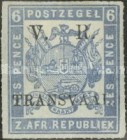 """[South African Postage Stamps Overprinted """"V. R. - TRANSVAAL"""" in Black, type A11]"""