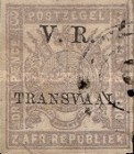 """[South African Postage Stamps Overprinted """"V. R. - TRANSVAAL"""" in Black, type A8]"""