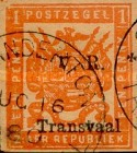 """[Not Issued Stamps Overprinted """"V.R. Transvaal"""" - Small """"V. R."""", Colored Paper, type F]"""
