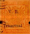 """[Not Issued Stamps Overprinted """"V.R. Transvaal"""" - Small """"V. R."""", Colored Paper, type F1]"""