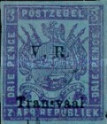 """[Not Issued Stamps Overprinted """"V.R. Transvaal"""" - Small """"V. R."""", Colored Paper, type F3]"""