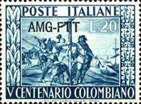[The 500th Anniversary of the Birth of Columbus - Italy Postage Stamp Overprinted