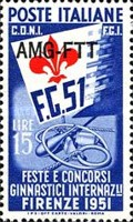 [International Gymnastics Competition - Italy Postage Stamps Overprinted