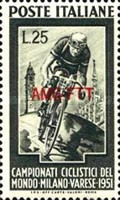 [World Bicycle Championship Races, Milan - Italy Postage Stamp Overprinted