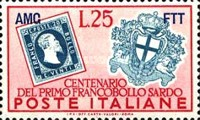 [The 100th Anniversary of Sardinia´s First Postage Stamp - Italy Postage Stamps Overprinted