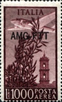 [Airplane over Bell Tower, Rome - Italy Postage Stamp of 1948 Overprinted