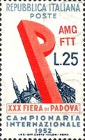 [The 30th International Sample Fair of Padua - Italy Postage Stamp Overprinted