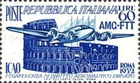[The First International Civil Aviation Conference, Rome - Italy Postage Stamp Overprinted
