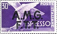 "[Express Stamps - Italy Postage Stamps of 1947 Overprinted ""A.M.G.F.T.T."", type C2]"