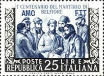 [The 100th Anniversary of the Deaths of the Five Martyrs of Belfiore - Italy Postage Stamp Overprinted