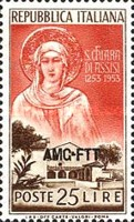[The 700th Anniversary of the Death of St. Clare of Assisi - Italy Postage Stamp Overprinted