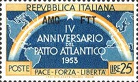 [The 4th Anniversary of NATO - Italy Postage Stamps Overprinted