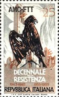 [The 10th Anniversary of Italy´s Resistance Movement - Italy Postage Stamp Overprinted
