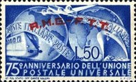 [The 75th Anniversary of the Universal Postal Union - Italy Postage Stamp Overprinted