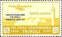 "[Airmail - Not Issued Stamps - Inscription ""CIRCUITO DELLE OASI - TRIPOLI - MAGGIO"", type CZ1]"