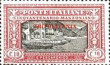 "[The 50th Anniversary of the Death of Alessandro Manzoni - Italian Postage Stamps Overprinted ""TRIPOLITANIA"" in Red, type F]"