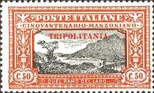 "[The 50th Anniversary of the Death of Alessandro Manzoni - Italian Postage Stamps Overprinted ""TRIPOLITANIA"" in Red, type F3]"