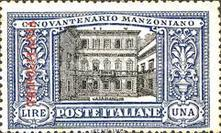 "[The 50th Anniversary of the Death of Alessandro Manzoni - Italian Postage Stamps Overprinted ""TRIPOLITANIA"" in Red, type F4]"