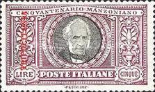 "[The 50th Anniversary of the Death of Alessandro Manzoni - Italian Postage Stamps Overprinted ""TRIPOLITANIA"" in Red, type F5]"
