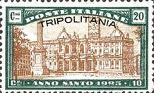 """[Holy Year - Italian Postage Stamps Overprinted """"TRIPOLITANIA"""", type G]"""