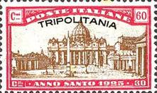 """[Holy Year - Italian Postage Stamps Overprinted """"TRIPOLITANIA"""", type G3]"""