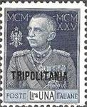 "[The 25th Anniversary of the Reign of King Emmanuel III - Italian Postage Stamps Overprinted ""TRIPOLITANIA"", type H1]"