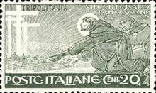 "[The 700th Anniversary of the Death of St. Francis of Assisi - Italian Postage Stamps Overprinted ""Tripolitania"", type I]"