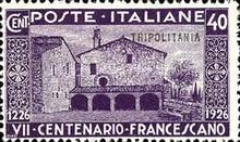 "[The 700th Anniversary of the Death of St. Francis of Assisi - Italian Postage Stamps Overprinted ""Tripolitania"", type I1]"