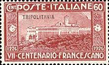 "[The 700th Anniversary of the Death of St. Francis of Assisi - Italian Postage Stamps Overprinted ""Tripolitania"", type I2]"