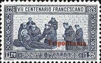 "[The 700th Anniversary of the Death of St. Francis of Assisi - Italian Postage Stamps Overprinted ""Tripolitania"", type I3]"