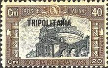"[Italian Postage Stamps Overprinted ""TRIPOLITANIA"", type P]"