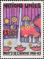[The 35th Anniversary of the Human Rights, Paintings by Hundertwasser, type CM]
