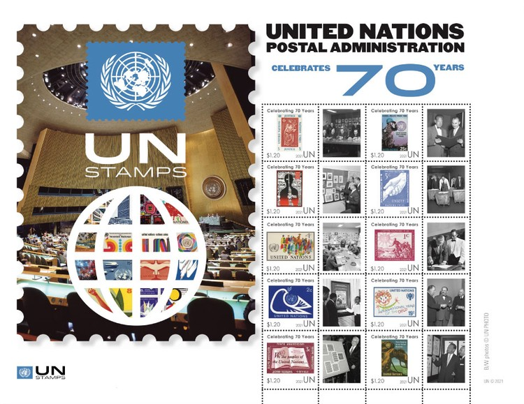[The 70th Anniverasary of United Nationa Postal Administration New York, type ]